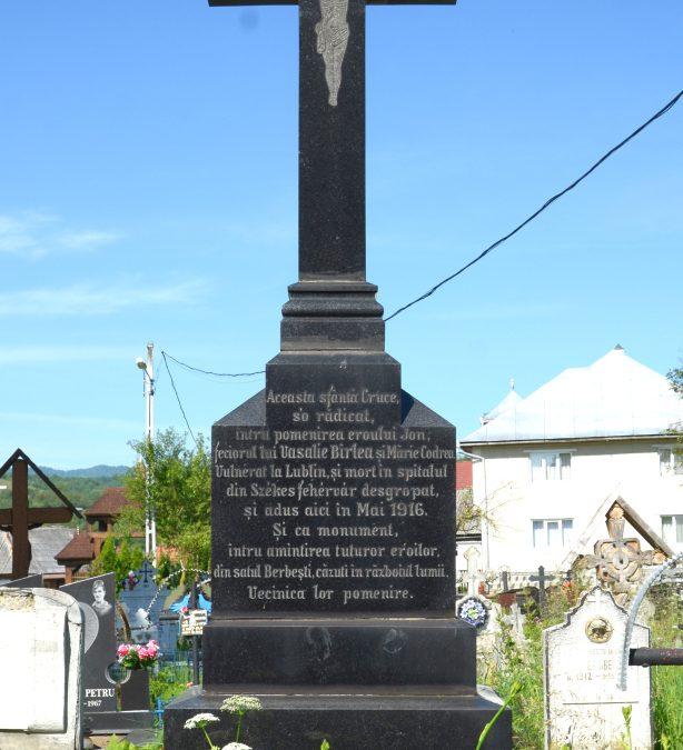 Crucea Monument pentru Soldatul Jon și Berbeștenii căzuți în Primul Război Mondial, Berbești, comuna Giulești