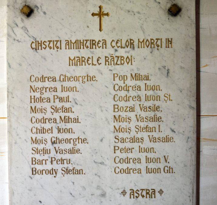 Placă Comemorativă în Cinstea Eroilor din Primul Război Mondial, Berbești, comuna Giulești