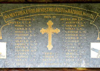 Hoteni – Placă Comemorativă a Eroilor din Primul Război Mondial